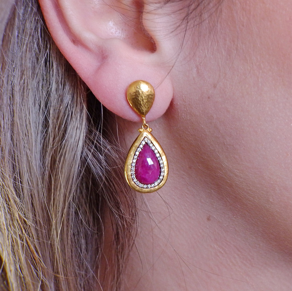 thumbnail image of Gurhan One of a Kind Gold Diamond Ruby Drop Earrings