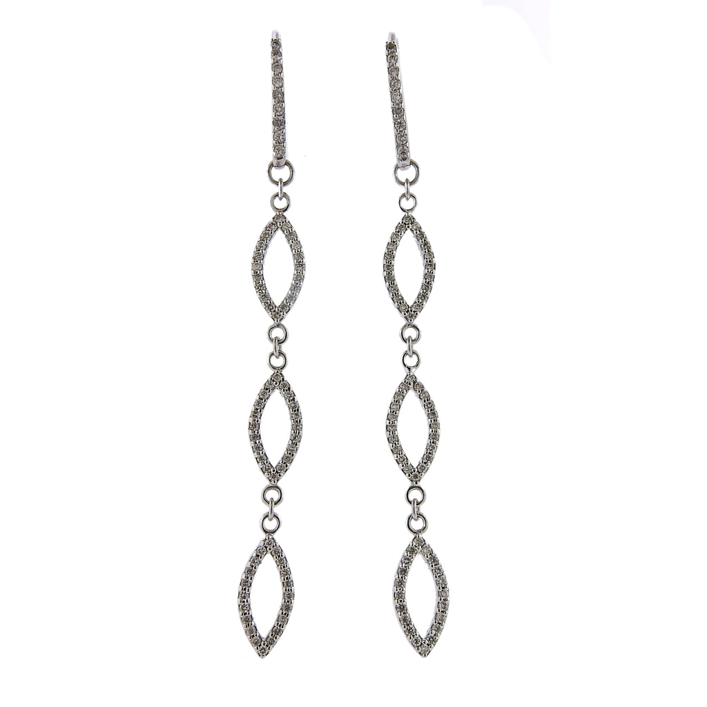 thumbnail image of Gurhan Linear Willow Diamond Gold Long Drop Earrings