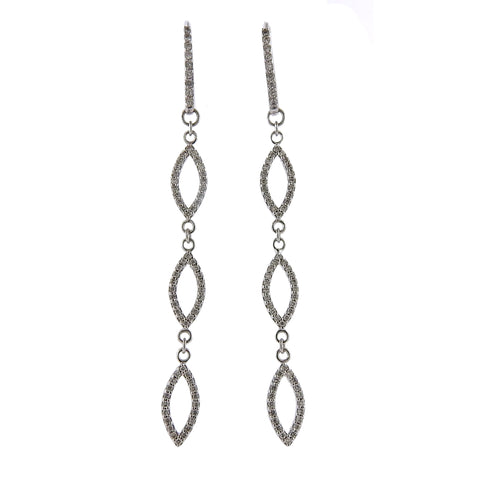 image of Gurhan Linear Willow Diamond Gold Long Drop Earrings