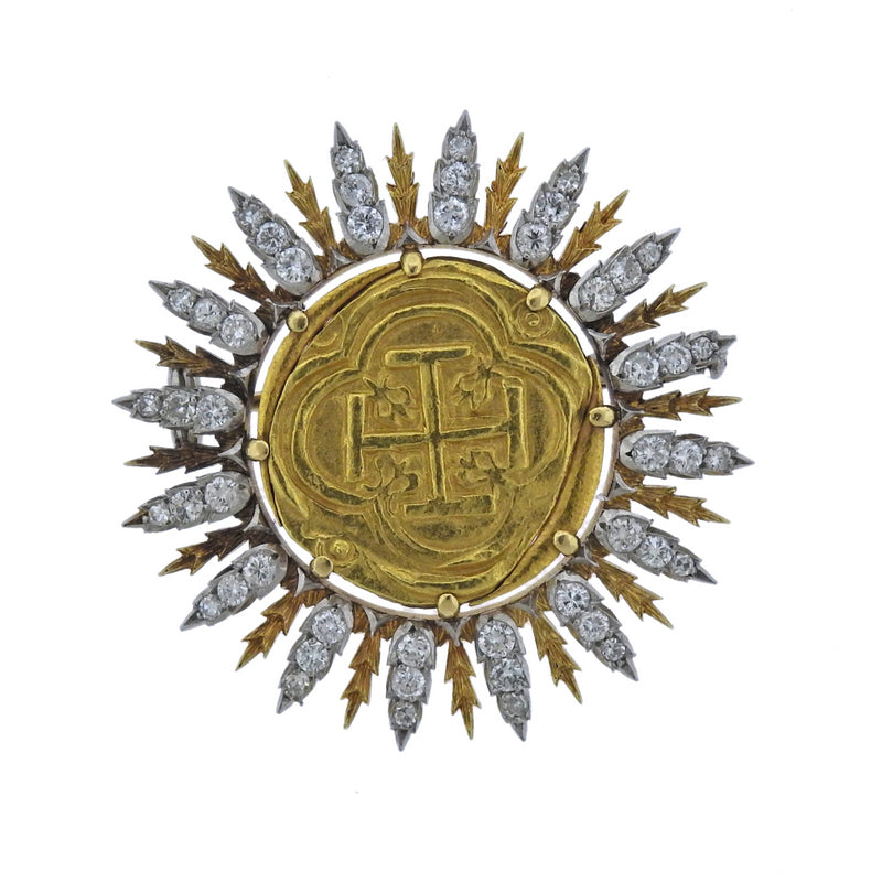 thumbnail image of Buccellati Byzantine Ancient Coin Diamond Gold Brooch