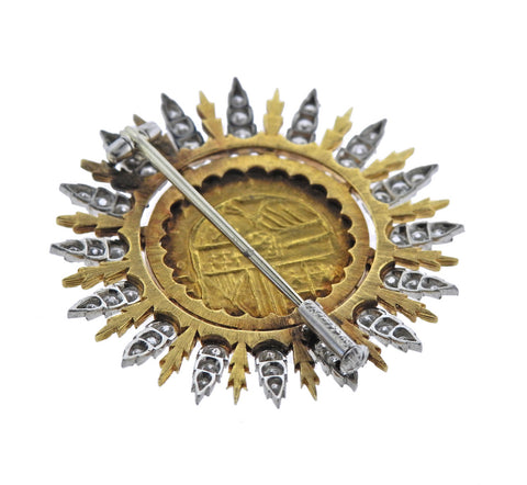 image of Buccellati Byzantine Ancient Coin Diamond Gold Brooch