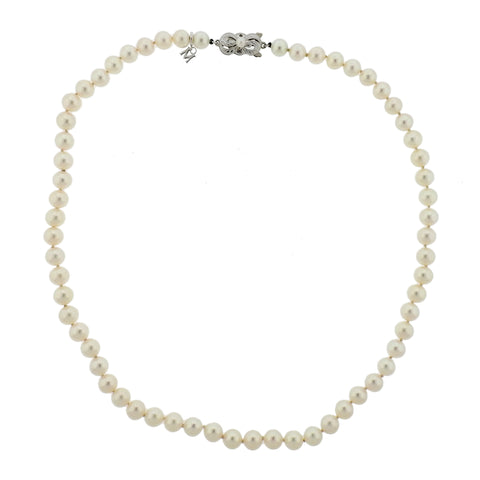 Mikimoto 18k Gold 6.5mm to 7mm Pearl Clasp Necklace