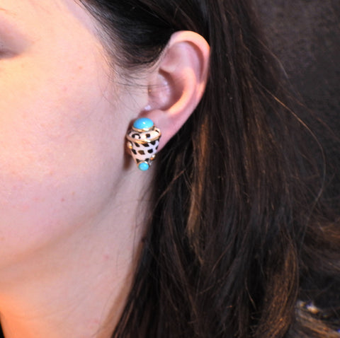image of Maz Shell Turquoise Gold Earrings