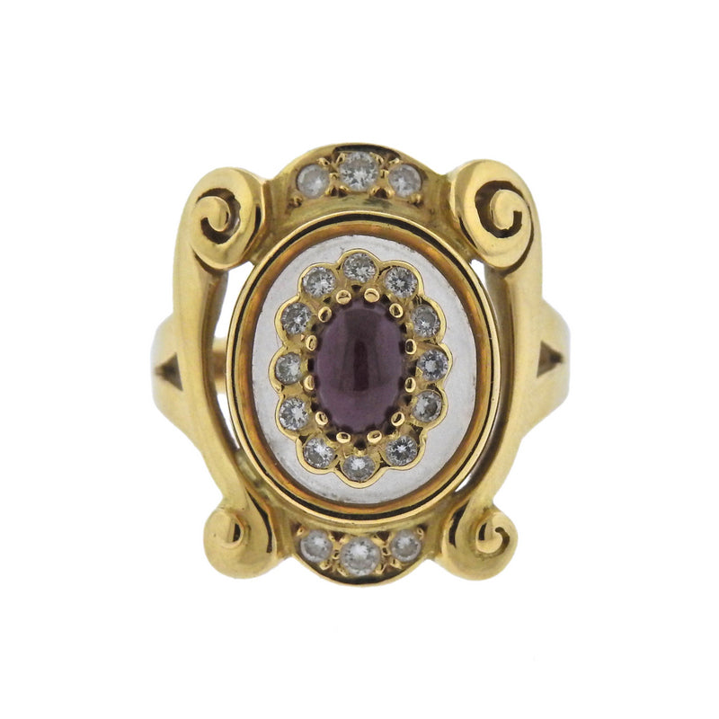 thumbnail image of Lalaounis Greece Diamond Ruby Crystal Gold Ring