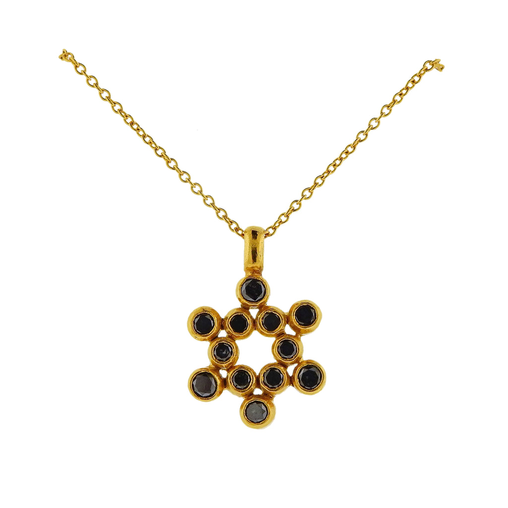 thumbnail image of Gurhan Juju Gold Black Diamond Star of David Pendant Necklace