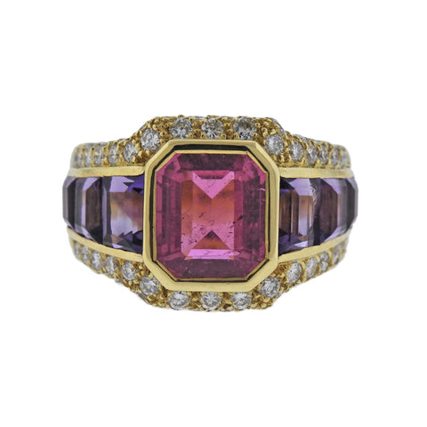 image of French Diamond Amethyst Tourmaline Gold Ring