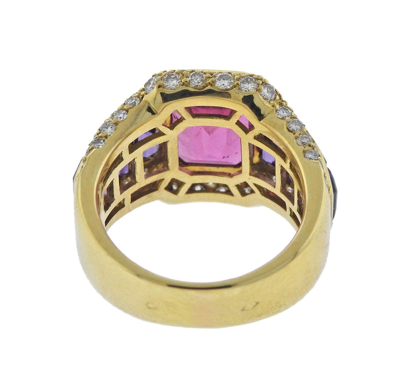 thumbnail image of French Diamond Amethyst Tourmaline Gold Ring
