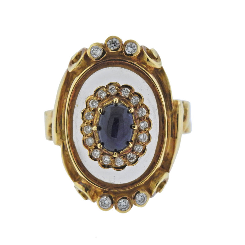 thumbnail image of Lalaounis Greece Diamond Sapphire Crystal Gold Ring