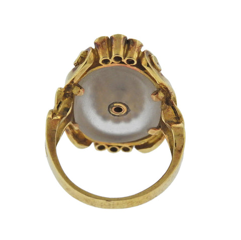 image of Lalaounis Greece Diamond Sapphire Crystal Gold Ring