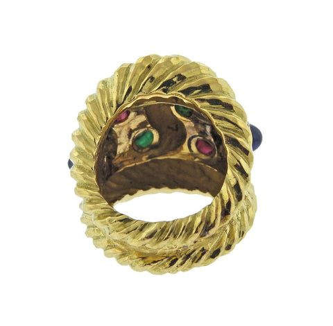 image of David Webb Ruby Sapphire Emerald Gold Ring