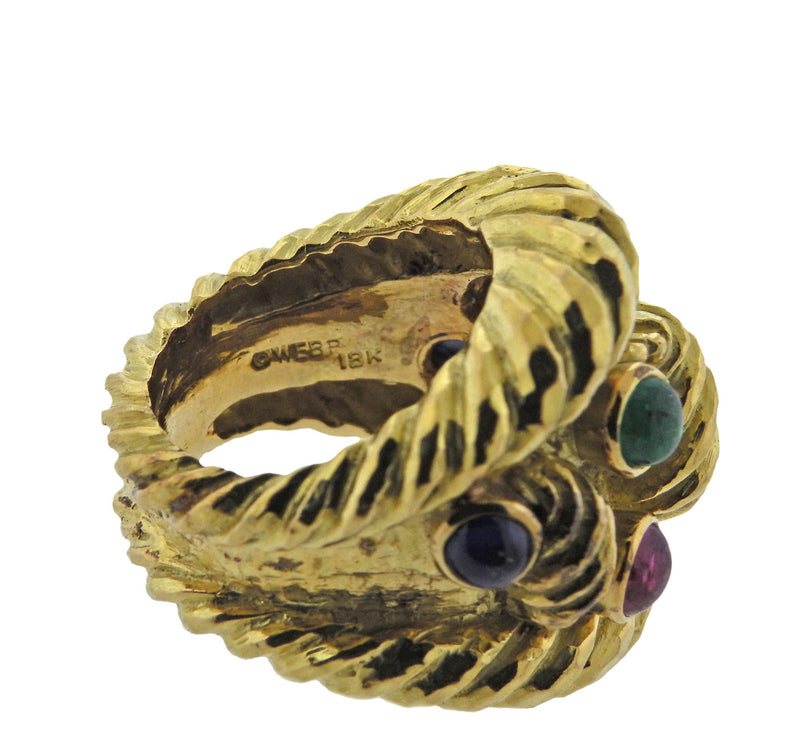 thumbnail image of David Webb Ruby Sapphire Emerald Gold Ring