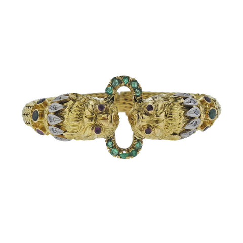 image of Lalaounis Greece Chimera Diamond Emerald Ruby Gold Bracelet