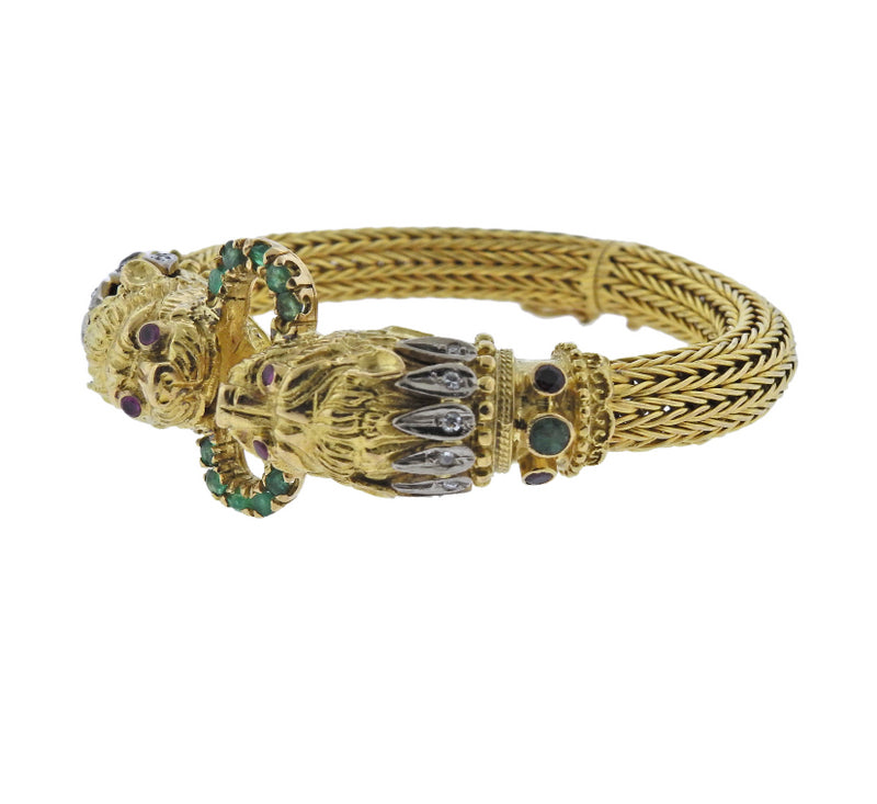 thumbnail image of Lalaounis Greece Chimera Diamond Emerald Ruby Gold Bracelet
