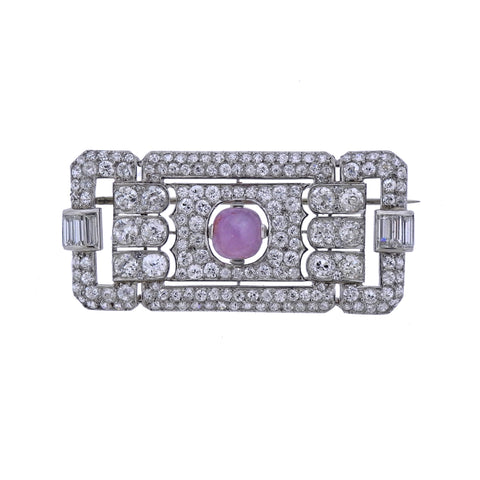 image of Art Deco Platinum Star Sapphire Diamond Brooch Pin