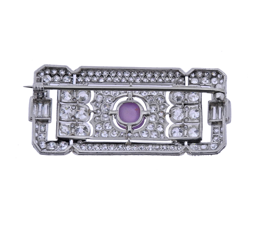thumbnail image of Art Deco Platinum Star Sapphire Diamond Brooch Pin