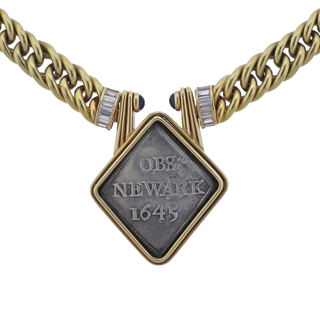 thumbnail image of Bulgari Obs Newark 1645 c.800 Coin Diamond Sapphire Gold Necklace