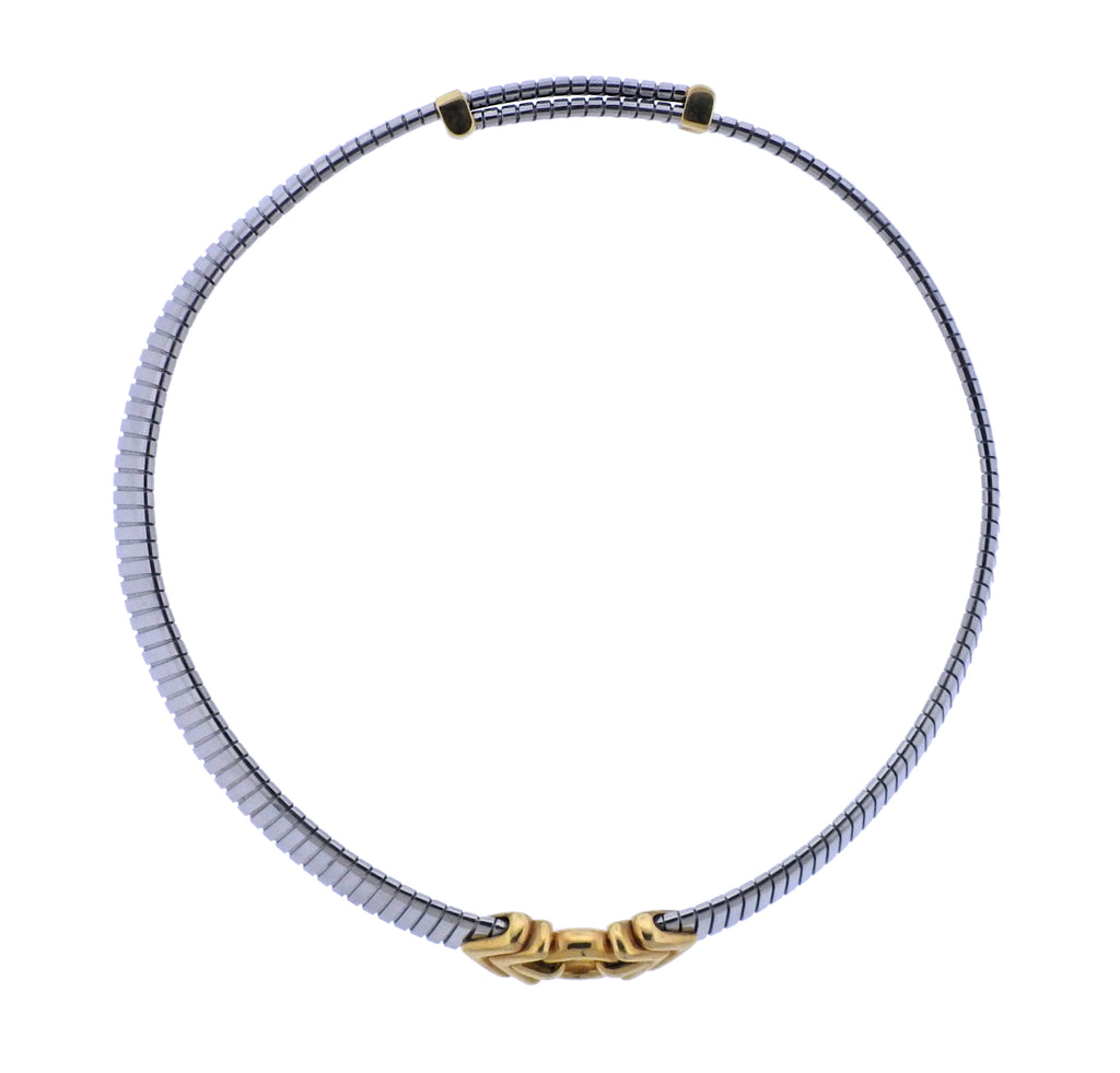thumbnail image of Bulgari Tubogas Steel Gold Necklace