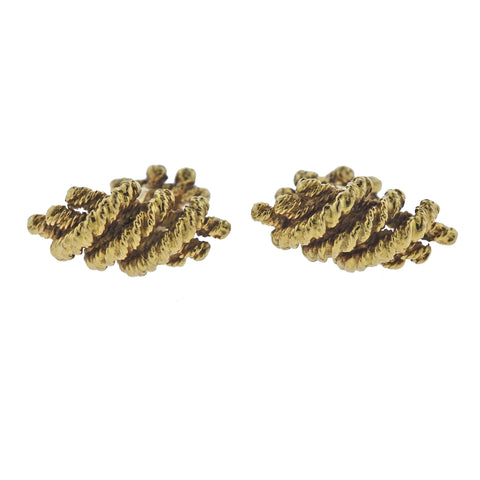 image of David Webb Gold Woven Cufflinks
