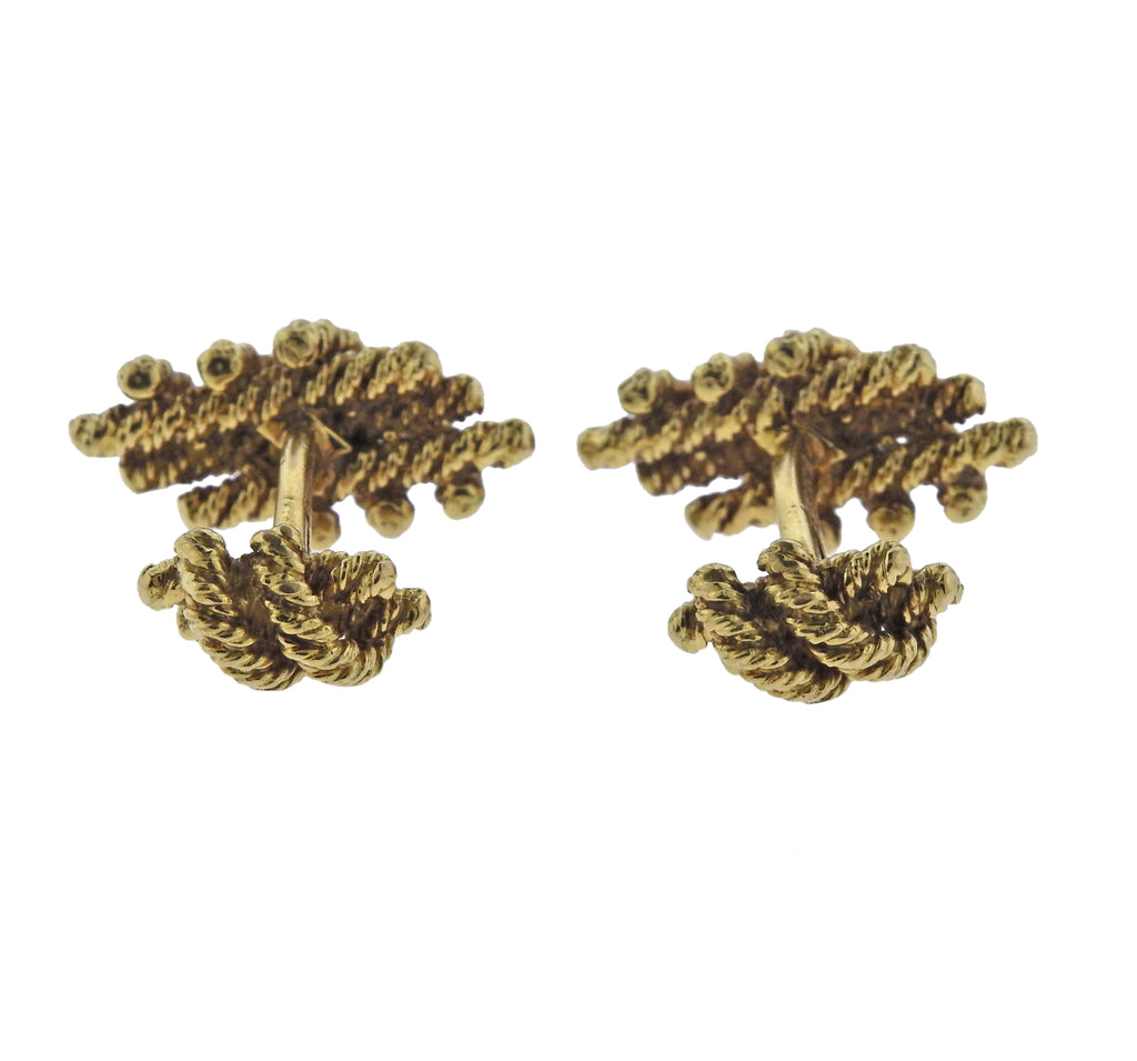 thumbnail image of David Webb Gold Woven Cufflinks