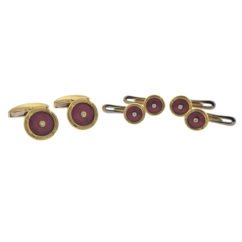 thumbnail image of Deakin & Francis Gold Enamel Diamond Cufflinks Studs Set