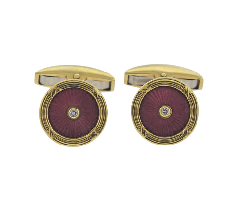 image of Deakin & Francis Gold Enamel Diamond Cufflinks Studs Set