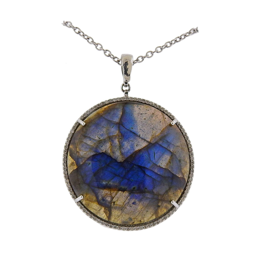 thumbnail image of Gurhan One of a Kind Gold Labradorite Diamond Pendant Necklace