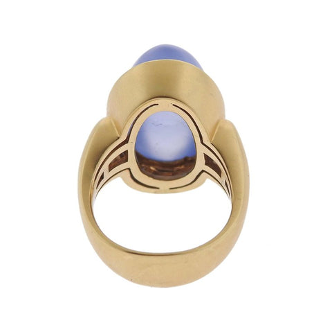 image of Large Chalcedony Cabochon Sapphire Gold Ring