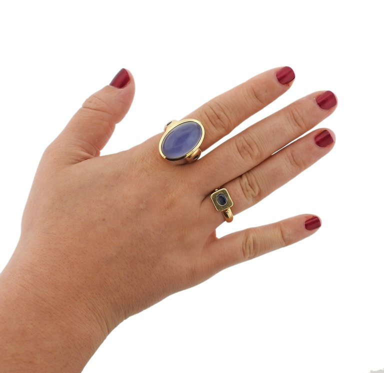 thumbnail image of Large Chalcedony Cabochon Sapphire Gold Ring