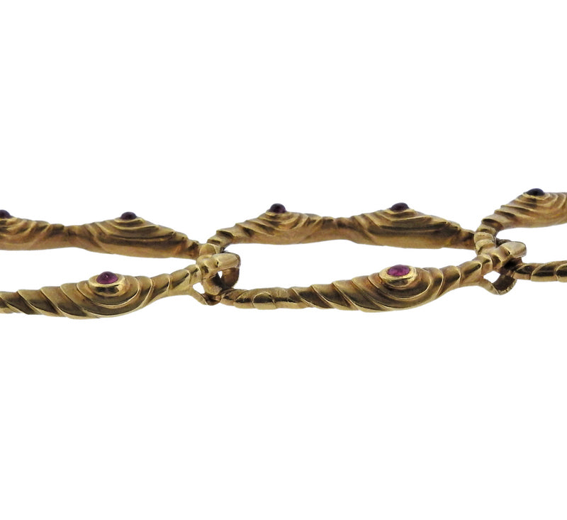 thumbnail image of 1980s Angela Cummings Ruby Gold Link Necklace