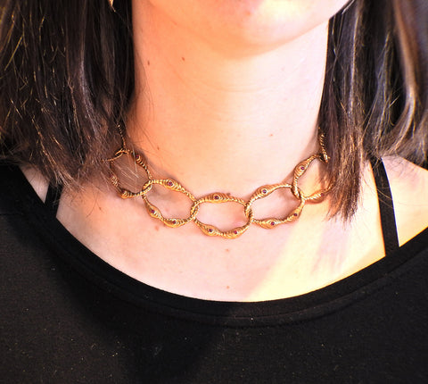 image of 1980s Angela Cummings Ruby Gold Link Necklace