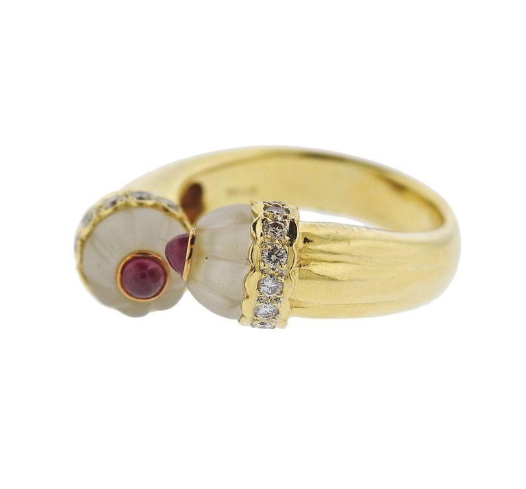 thumbnail image of Diamond Ruby Frosted Crystal Gold Bypass Ring