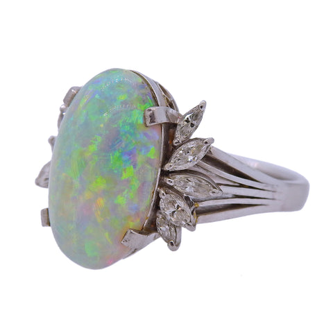 image of 5.19ct Opal Diamond Platinum Ring