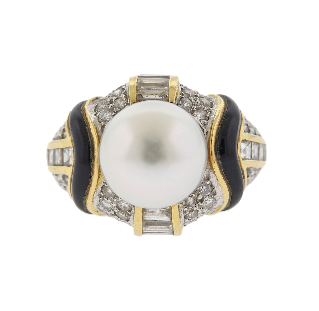 thumbnail image of South Sea Pearl Diamond Onyx 18k Gold Cocktail Ring