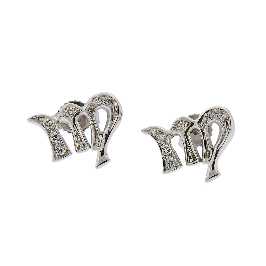 thumbnail image of Gubelin Gold Diamond Virgo Zodiac Sign Stud Earrings