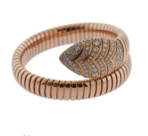 image of Bulgari Serpenti Diamond Rose Gold Bracelet