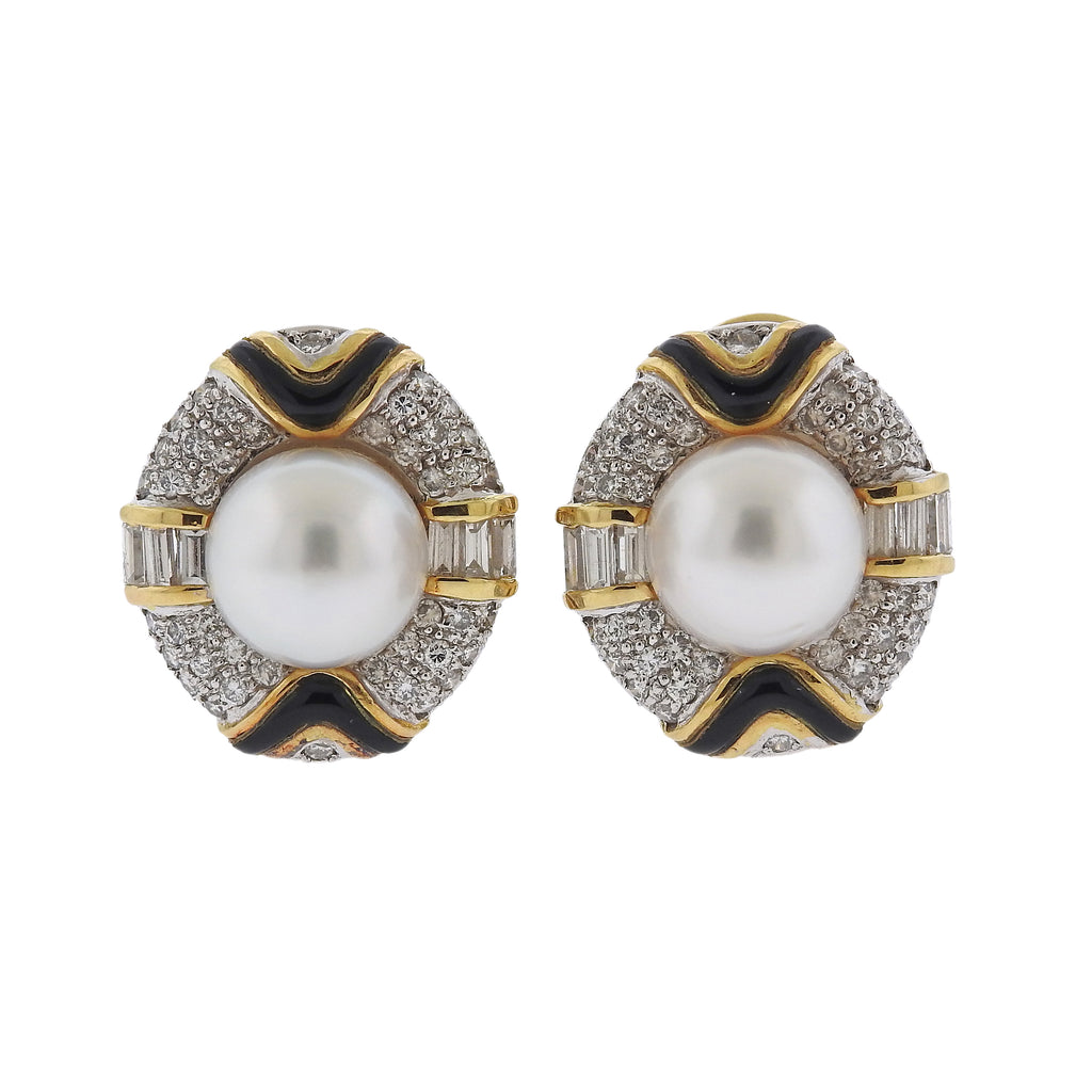 thumbnail image of South Sea Pearl Diamond Onyx 18k Gold Cocktail Earrings