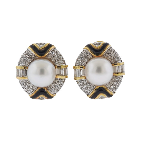 image of South Sea Pearl Diamond Onyx 18k Gold Cocktail Earrings