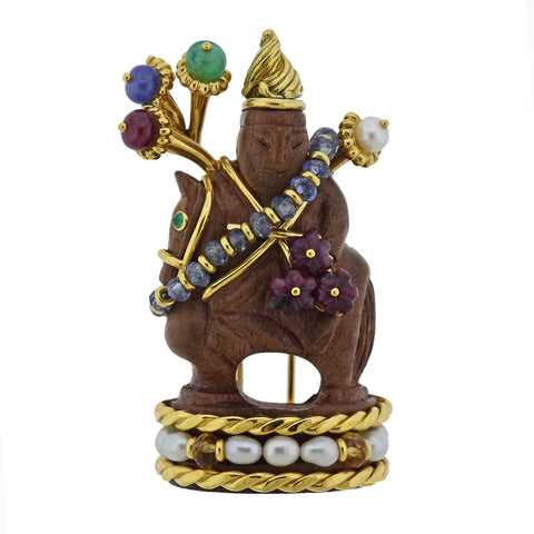 image of Seaman Schepps Wood Emerald Ruby Sapphire Pearl Chessman Gold Brooch