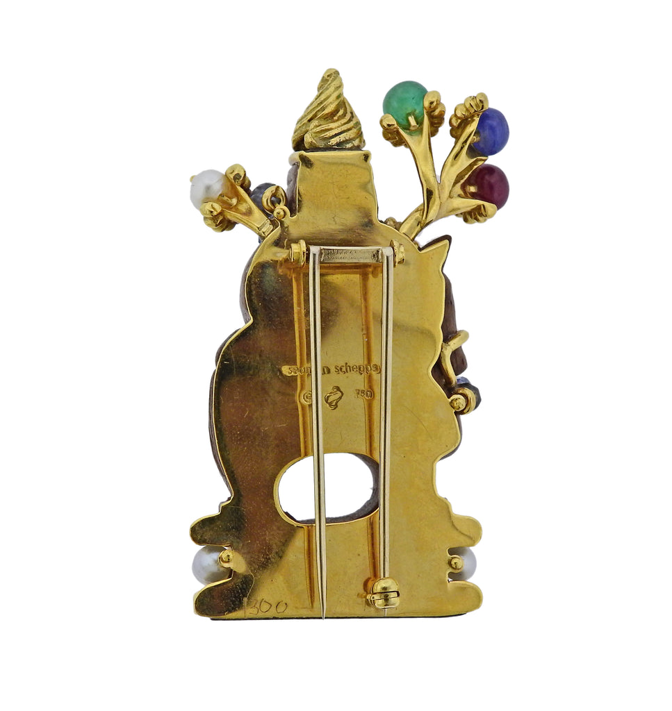 thumbnail image of Seaman Schepps Wood Emerald Ruby Sapphire Pearl Chessman Gold Brooch