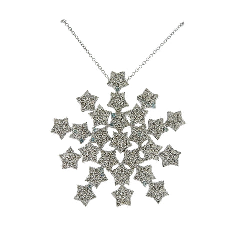 image of Pasquale Bruni Gold Snow Flake Diamond Pendant Necklace