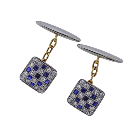 image of Art Deco Diamond Sapphire Gold Classic Cufflinks