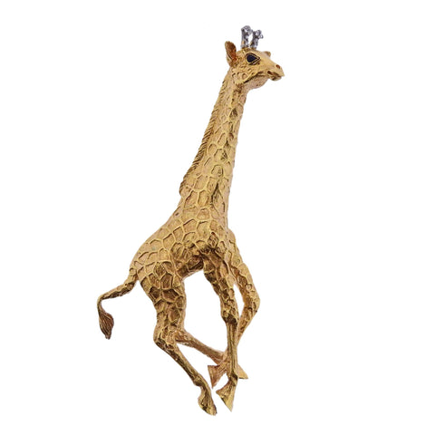 image of Tiffany & Co Diamond Gold Giraffe Brooch Pin