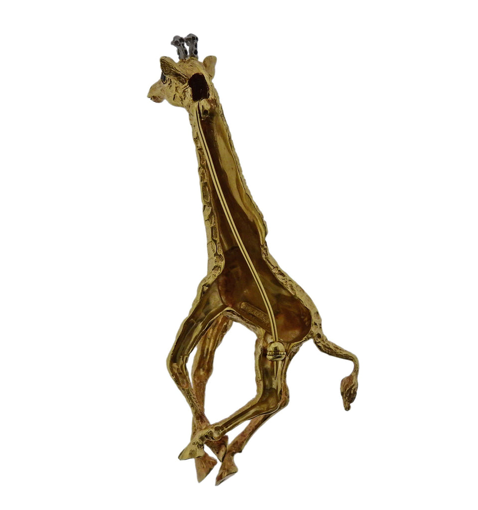 thumbnail image of Tiffany & Co Diamond Gold Giraffe Brooch Pin