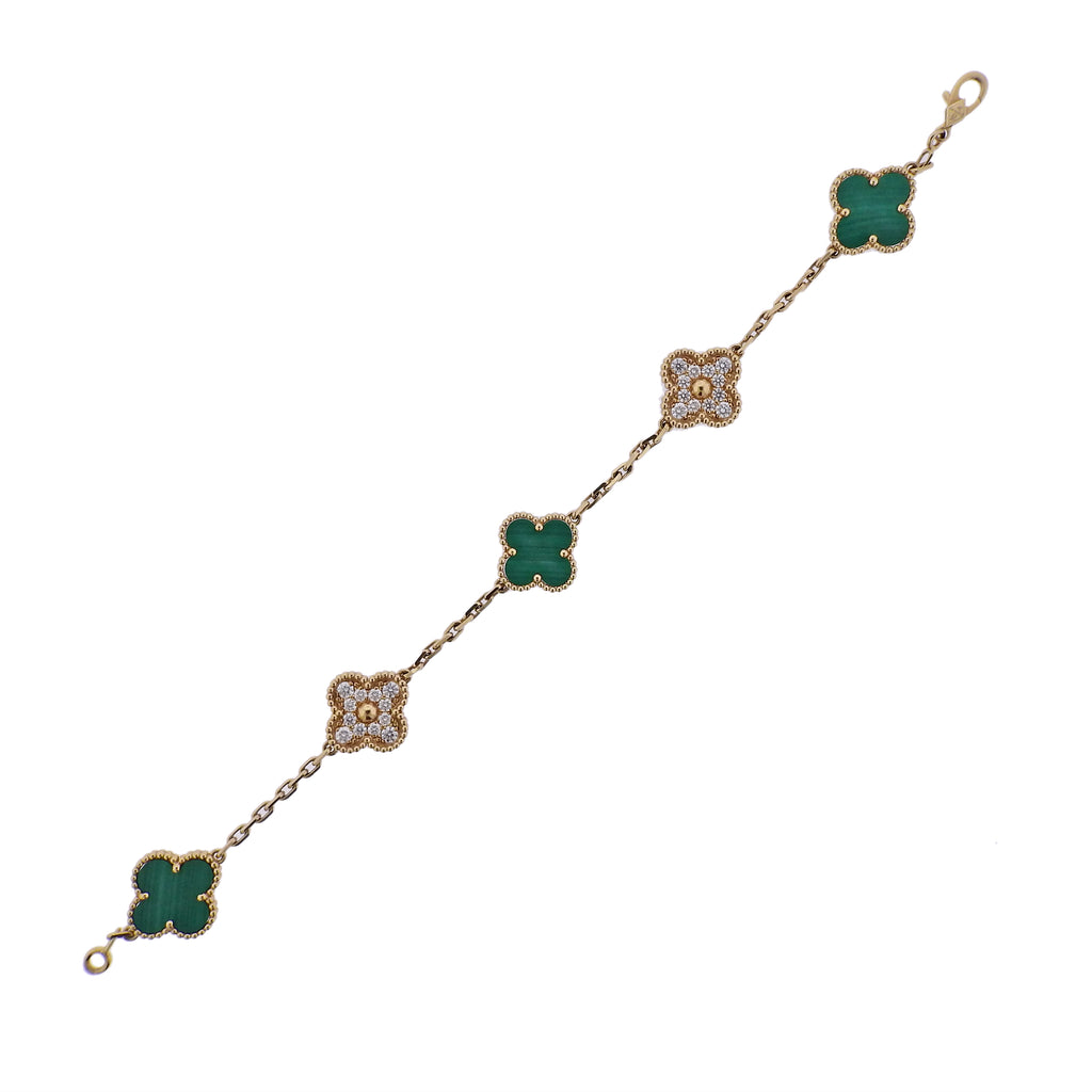 thumbnail image of Van Cleef & Arpels Vintage Alhambra Diamond Malachite Gold Bracelet