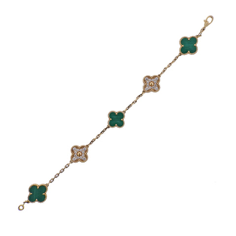 image of Van Cleef & Arpels Vintage Alhambra Diamond Malachite Gold Bracelet