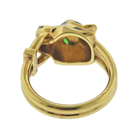 image of Cartier Panthere Diamond Enamel Tsavorite Gold Ring