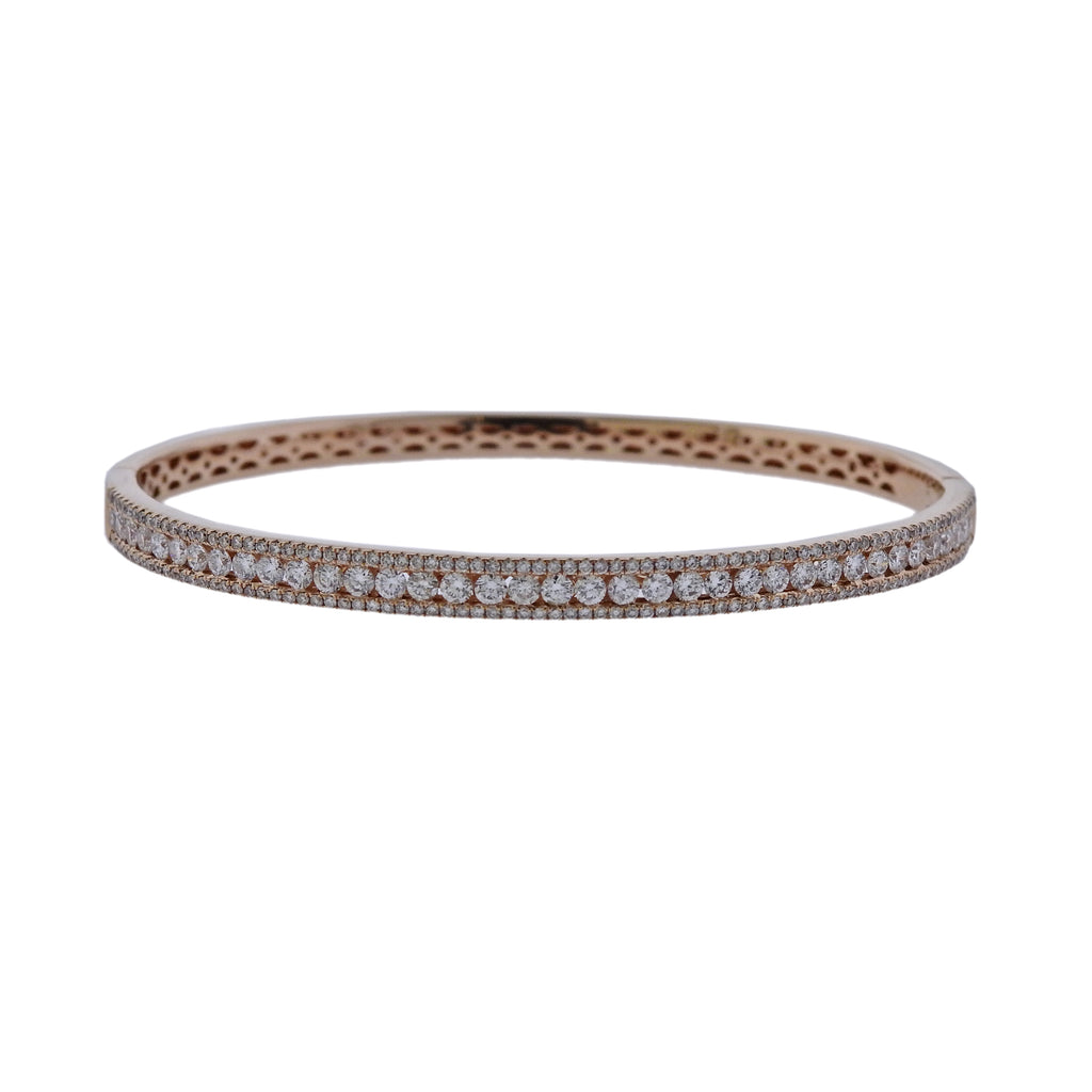 thumbnail image of 14k Rose Gold Diamond Bangle Bracelet