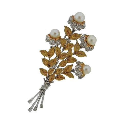 Buccellati Gold Pearl Brooch Pin