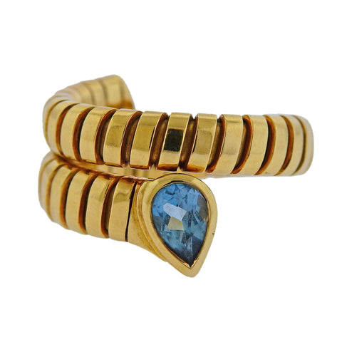 image of Bulgari Tubogas Blue Topaz Gold Ring