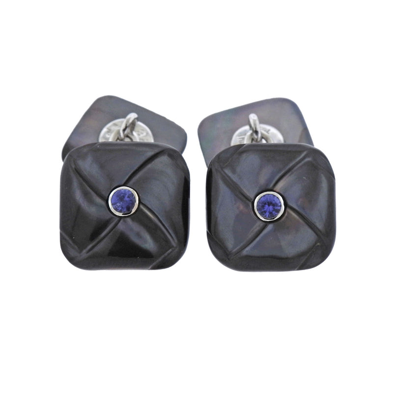 thumbnail image of Trianon Mother of Pearl Iolite Gold Cufflinks